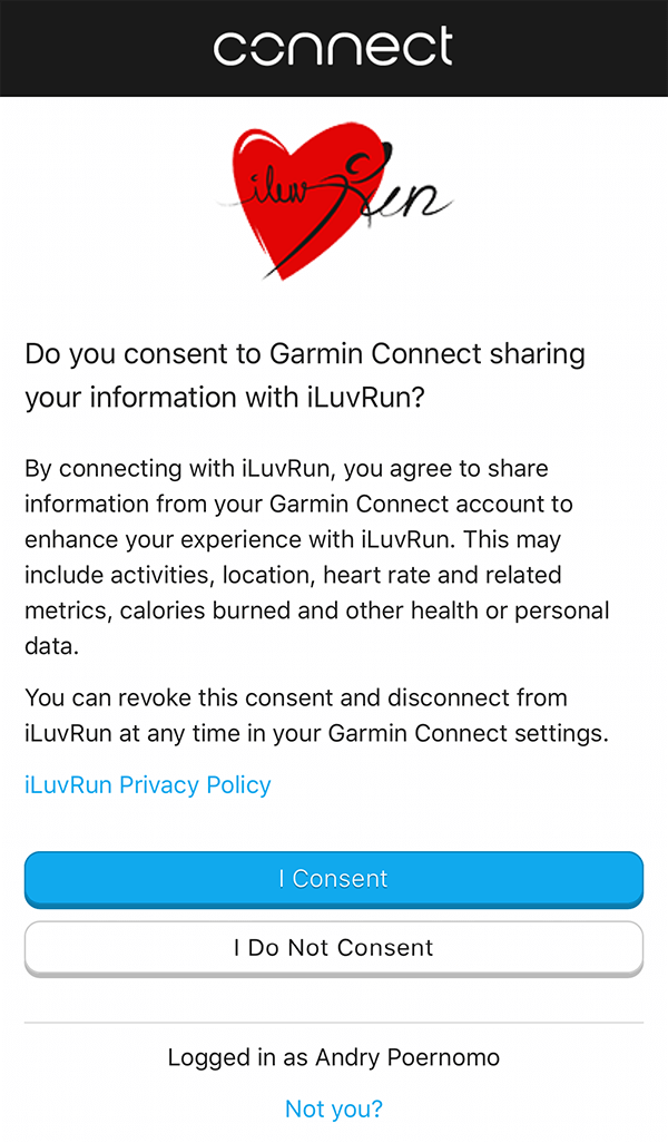 Authorise access to Garmin activities