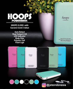 PowerBank Hoops 11000mah. Colours: black, white, green, lime, pink, blue