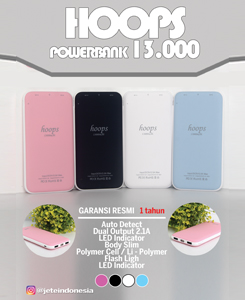 PowerBank Hoops 13000mah. Colours: black, pink, blue