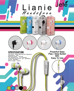 Handsfree Lianie. Colours: black, white, pink, blue, green